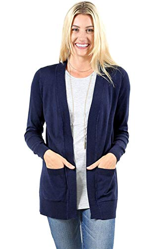 Cardigans for Women Open Front Knit Long Sleeve Pockets Sweater Cardigan -Navy (3X)