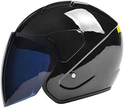 NJ ヘルメット- 電動バイクヘルメット男性と女性四季ユニバーサルハーフカバーの紅茶防曇ヘルメット (色 : Bright black, サイズ さいず : 30x22cm)