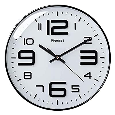 """Plumeet Silent Wall Clocks - 12"""" Non-Ticking Quartz Large Decorative Clocks - Big 3D Number Good for Living Room Home Office Battery Operated (White) - Wall Clock for Bedroom -- Large black numbers bulged out over white dial face, super quiet, easily to see and read 12'' diameter round frame. Eye Catching Numeric -- Four extra large 3D numbers makes it easier to read from any corner of your room. Super Silent -- Precise quartz movements to guarantee accurate time, quiet sweep second hand ensure a good sleeping and work environment. - wall-clocks, living-room-decor, living-room - 41m9oDH8z3L. SS400  -"""