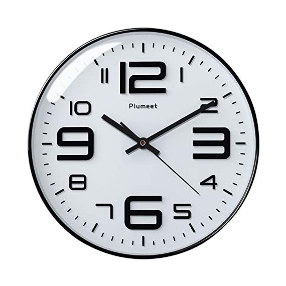 """Plumeet Silent Wall Clocks - 12"""" Non-Ticking Quartz Large Decorative Clocks - Big 3D Number Good for Living Room Home Office Battery Operated (White) - Wall Clock for Bedroom -- Large black numbers bulged out over white dial face, super quiet, easily to see and read 12'' diameter round frame. Eye Catching Numeric -- Four extra large 3D numbers makes it easier to read from any corner of your room. Super Silent -- Precise quartz movements to guarantee accurate time, quiet sweep second hand ensure a good sleeping and work environment. - wall-clocks, living-room-decor, living-room - 41m9oDH8z3L. SS570  -"""