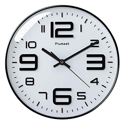 Plumeet Large Wall Clock, 12 Silent Non-Ticking Quartz Decorative Clocks, Big 3D Number Good for Living Room Home Office Battery Operated (White)