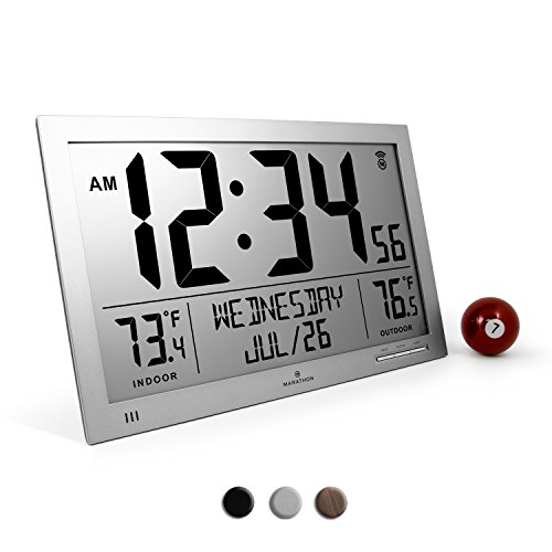 Marathon CL030066GG Slim Atomic Full Calendar Clock with Extra Large Digits and Indoor/Outdoor Temperature (Graphite Grey) - Batteries Included