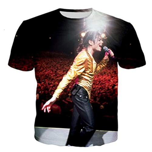 JJZHY Michael Jackson Memorial T-Shirts for Men and Women 3D Printed Couple Short-Sleeved T-Shirt,Black,XL (Best Couple Printed T Shirts)