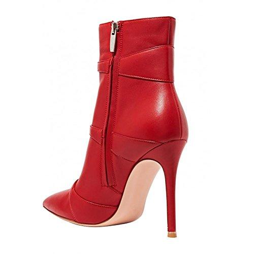 Pu Retro Red Laterale Donna Appuntito red Pompa Cerniera 41 Zhang8 Rosso Manuale Caviglia 5EAqT