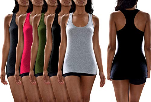Sexy Basics Women's 5 Pack Active-Fitness Workout Sport Cotton Stretch Racerback Tank Tops (5 Pack- Black/Grey/Fushia/Olive/Charcoal, Medium)