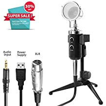 USB PC Microphone, ZealSound Professional Studio Condenser Computer Microphone Kit with 3.5mm XLR/USB Power/Pop Filter/Stand for Professional Studio Recording Podcasting Broadcasting, Black