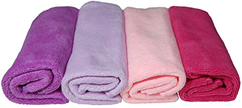 (Plush Microfiber Towels/WASHCLOTHS, Ultra Soft Thick (Pink Dark, Pink Light, Purple, Lavender))