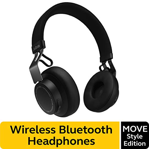 Jabra Move Style Edition, Black - Wireless Bluetooth Headphones with Superior Sounds Quality, Long Battery Life, Ultra-Light and Comfortable Wireless Headphones, 3.5 mm Jack Connector Included