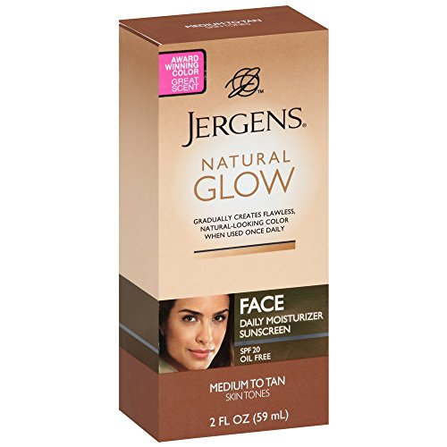 Jergens Natural Glow Daily Facial Moisturizer SPF 20, Medium To Tan Skin Tones 2 oz (Pack of 3)