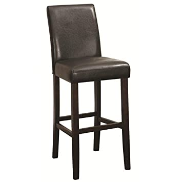 Bar Height Parson Stools Dark Brown and Walnut Set of 2
