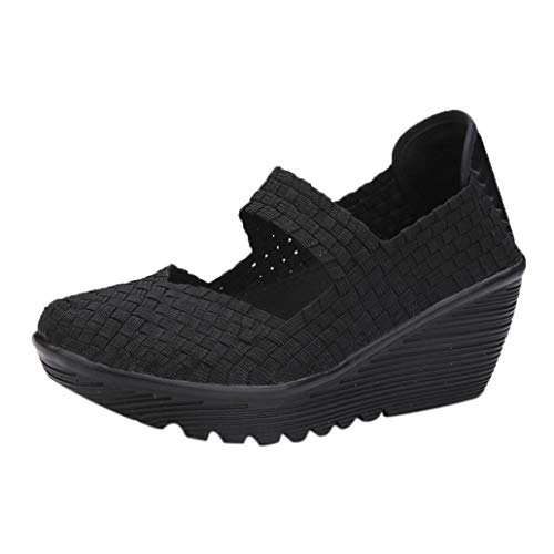 Womens Wedge Platform Sandals Woven Mary Jane Pumps Comfortable Working Shoes