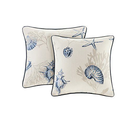de Cotton Sateen Square Pillow Pair With Solid Reverse & Piping - Blue - 20x20 - Seashell Printed - Includes 2 Decorative Pillows (Decorative Shell)