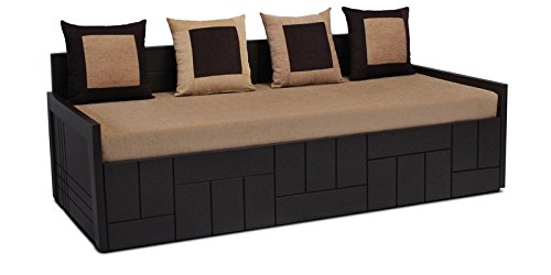 Auspicious Home Nelson Sofa Cum Bed With 4 Pillow in Brown Color