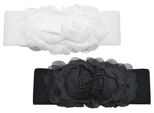 Meta-U Women Flower Elastic Wide Waist Belt (black rose & white - Flowers Belt Buckle White