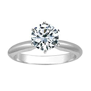 1 Carat Round Cut Diamond Solitaire Engagement Ring 14K White Gold 6 Prong (J, VS1-VS2, 1 c.t.w) Very Good Cut