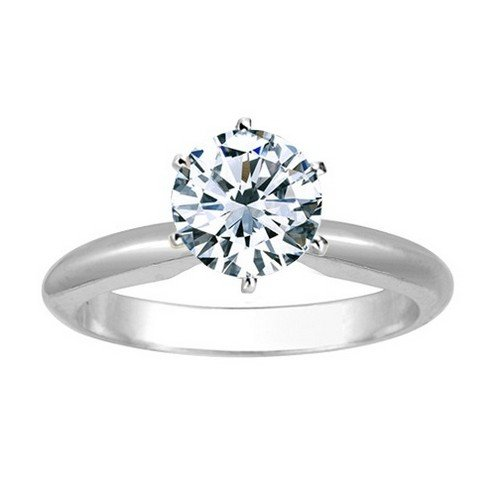 Near 1/2 Carat Round Cut Diamond Solitaire Engagement Ring 14K White Gold 6 Prong (J-K, I2, 0.45 c.t.w) Very Good - C/w Diamond