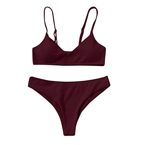 Red Cover 2 T-shirt (MOSE New Sexy Womens Swimwear Bikini Sets Push Up Bralette Beachwear 2 Pieces Cheeky Bottom Swimsuits (Wine Red, M))