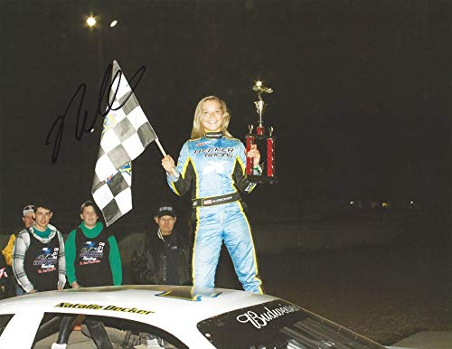 AUTOGRAPHED 2014 Natalie Decker #04 Decker Racing Team LATE MODEL RACE WIN (Victory Lane Trophy) Signed Collectible Picture 9X11 Inch NASCAR Glossy Photo with COA from Trackside Autographs