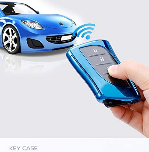 Blue TG Auto Luxury 3 4 Buttons Soft TPU Smart Keyless Remote Key Fob case Cover Shell With Keychain For 2018 2019 2020 Lexus UX200 LS500 LS500H LC500 LC500h ES300h ES350 HYQ14FBA-0440