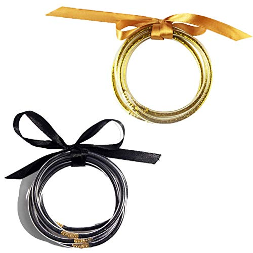 HUA JU 2 Packs Glitter Jelly Bracelets All Weather Bangles Christmas Powder Bracelet