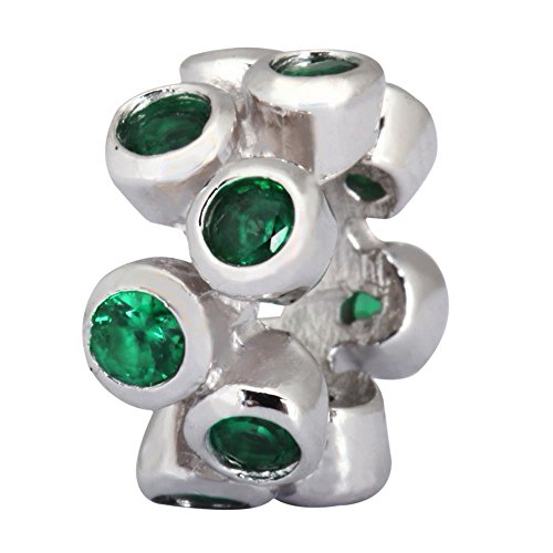 (Sterling Silver Charm May Birthstone Charm Spacer Bead Emerald Swarovski Crystal fits All Charm Bracelet Women Girls Mother's Gifts EC547)