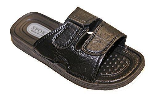 Sport Herren Kunstleder 45 Sandalette Verschluss Flops Pantoletten Schwarz Klettverschluss Flops Flip Sandale Flip wxYnq8087