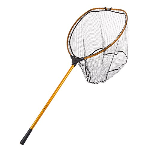 Net Extra Long Handle - Wakeman Outdoors Fishing Landing Net- Collapsible and Foldable with Corrosion Resistant Handle, Fish Safe Nylon Net (Gold, 64