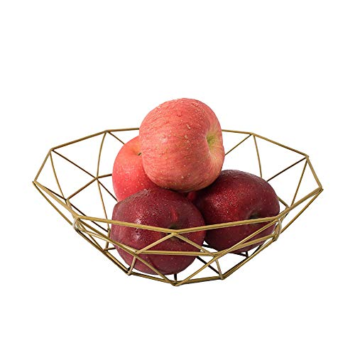 Fashion Creative Large Iron Mesh Woven Fruit Basket Fruit Bowl Office Home Table Art Disply Tray Holder Stand Serving Metal Banana Orange Storage Container Bread Basket Snacks Rack (Gold) by CrazyHat