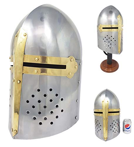 Brass Nautical Sugarloaf Armor Helmet Great Helm Crusader Helmet -