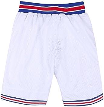 AFLGO - Escuadrón de espacio corto para baloncesto cosido pantalones cortos XS-XXL disfraz de los 90S Hip Hop ropa de fiesta, color blanco, tamaño mediano: Amazon.es: Deportes y aire libre