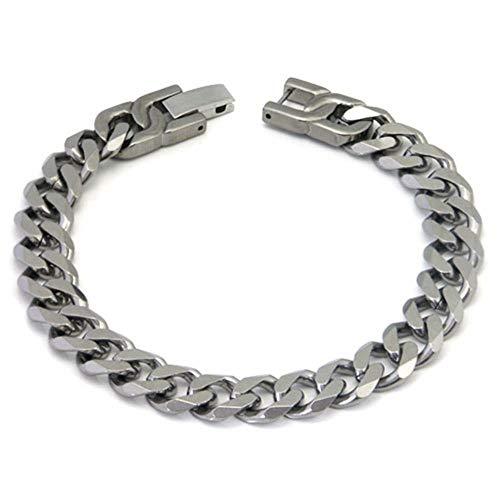 Italian Cut Men's Titanium 10MM Curb Link Bracelet 8