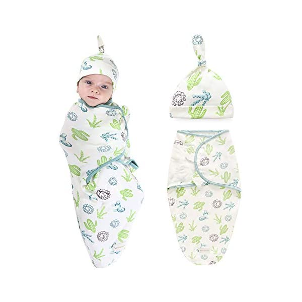 Baby Swaddle Blanket Wraps with Hat Set, 100% Cotton Soft Adjustable Infant Swaddling Towel Envelopes Sleeping Bag for Newborn Boy Girl Kids (for 0-3 Months, Cactus)