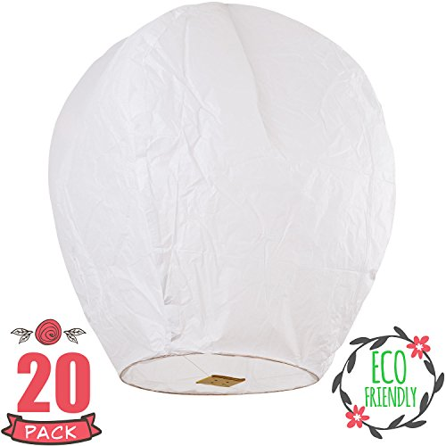 SKY HIGH Chinese Lanterns 20-Pack White, Fully Assembled And Fuel Cell Attached Is 100% Biodegradable, New Designed Sky Lantern With Gift Box Coral Entertainments For Any occasion. (Chinese Lanterns Halloween)