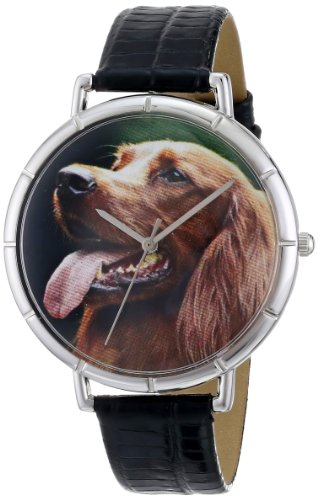 Irish Setter Whimsical Watches Women's T0130047 Black Leather And Silvertone Photo Watch