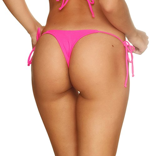 Coqueta Sexy Teeny Mini Brazilian Bikini Thong Swimsuit Bottom Swimwear HOT PINK-SMALL