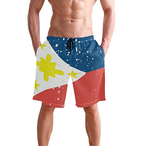super3Dprinted Distressed Philippines Flag Men's Swim Trunks Water Beach Shorts with ()