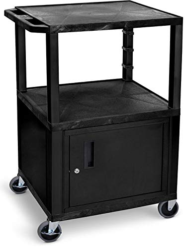 Luxor WT42C2-N 42'H AV Cart - 3 Shelves, Cab - Nickel Legs