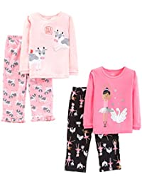 Little Kid and Toddler Girls' 4-Piece Pajama Set