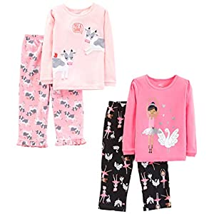 Simple Joys by Carter's Little Kid and Toddler Girls' 4-Piece Pajama Set (Cotton Top & Fleece Bottom)