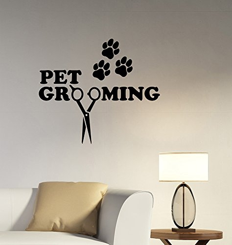 Pet Grooming Removable Vinyl Decal Sticker Art Decorations Dog Cat Salon Shop Wall Decor petg3