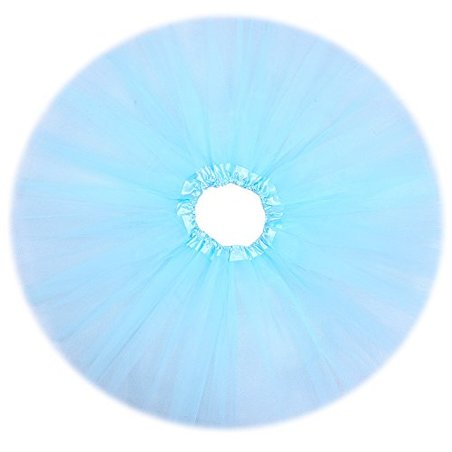 "Anleolife 12"" Ruffles Skirt Colorful Pettiskirts Tutu Kids Tutu Dress Light Blue"