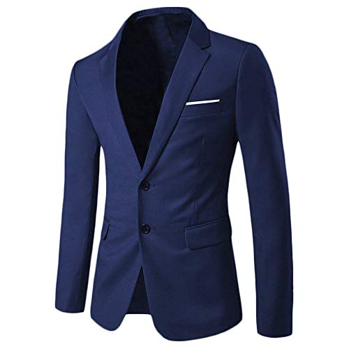 WEEN CHARM Mens Blazer Jacket Slim Fit Casual Two Button Solid Suit Separate Jacket Navy