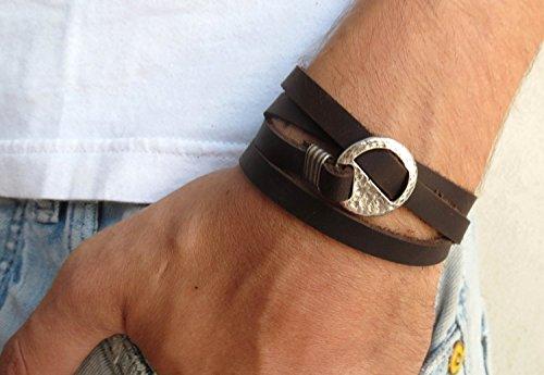 Handmade Dark Genuine Leather Wrap Bracelet Set With Geometric Element For Men By Galis Jewelry - Leather Bracelet For (Element Jewelry Bracelet)