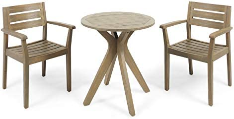 Christopher Knight Home Zack Outdoor 3 Piece Acacia Wood Bistro Set