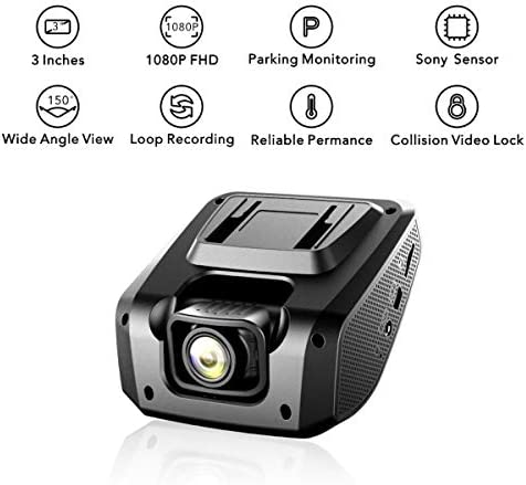 WELCAM Smart Car Dash Camera with Free miniSD Card, 3 1080 FHD Display, Clear Night Vision with Sony Image Sensor, Loop Recording, Parking Monitoring and Motion Detection, Collision Video Lock, WDR
