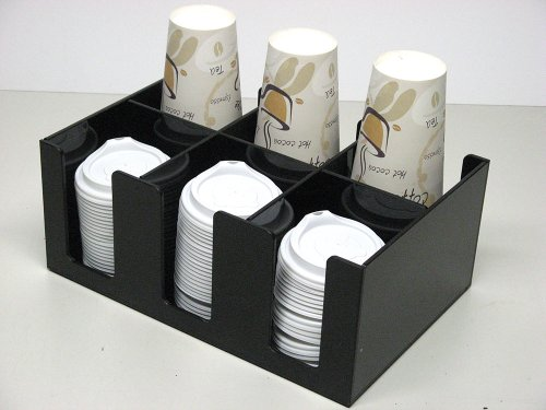 Small Coffee Cup and Lid Dispenser with 6 Sections for Countertop Organizer(6002) by RCS Plastics