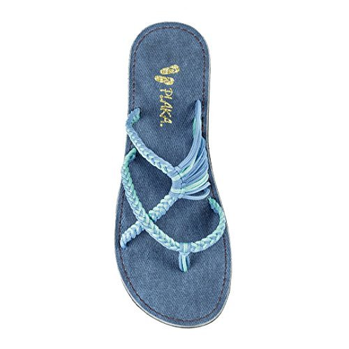 Plaka Flip Flops Slide Sandals for Women Cornflower 9 Oceanside