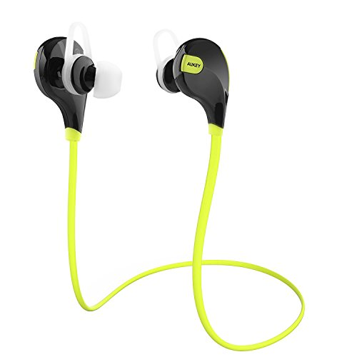 Bluetooth Headphones, AUKEY Wireless Stereo Sport Running Sweatproof Earbuds with Built-in Mic for for iPhone 7 / 6S / 6, Samsung, Android Smartphones
