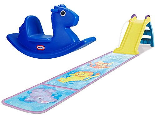 Little Tikes Rocking Horse, Blue and Little Tikes Wet and Dry First Slide with Slip Mat, Bundle (Sliding Mat Softball compare prices)