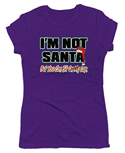 SpiritForged Apparel I'm Not Santa But You Can Sit On My Lap Junior's T-Shirt, Purple ()